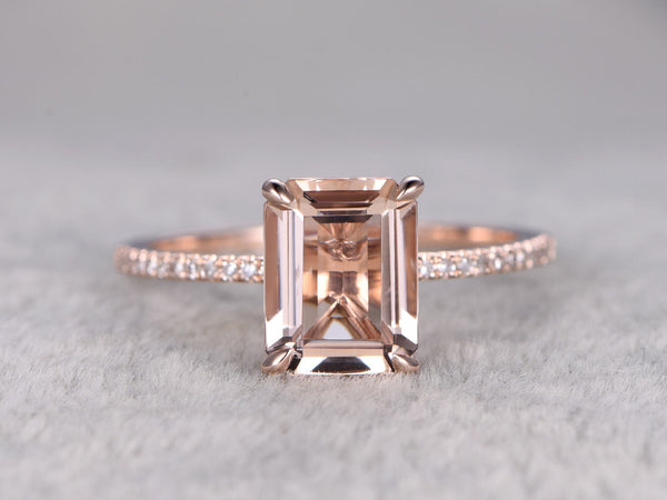 6x8mm Morganite Engagement ring Rose gold,Diamond wedding band,14k,Emerald Cut,Gemstone Promise Bridal Ring,Claw Prongs,Pave Set,Handmade