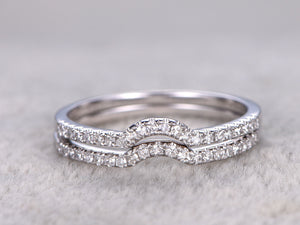 2pcs Half Eternity Wedding Ring,Diamond ring,Curved matching band,micro pave set,Solid 14K White gold,Anniversary Ring,stacking rings