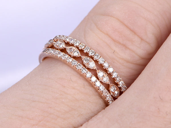 3pcs Half Eternity Wedding Ring,Diamond Wedding band,14K Rose gold,Anniversary Ring,Art deco Marquise style,stacking,milgrain,Matching band