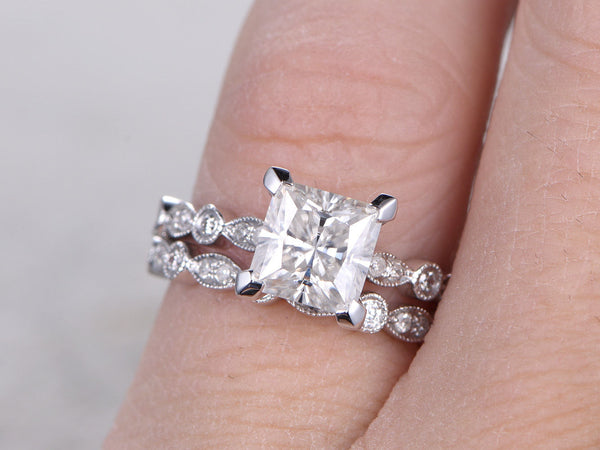 2 Moissanite Bridal Set,Engagement ring,6.5mm Princess Cut,Diamond wedding band,Full eternity,Art Deco,Milgrain,14k,White gold,Promise Ring