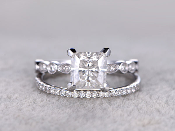 2 Moissanite Bridal Set,Engagement ring,6.5mm Princess Cut,Diamond wedding band,half eternity,14k,White gold,Promise Ring,Wedding Ring Set
