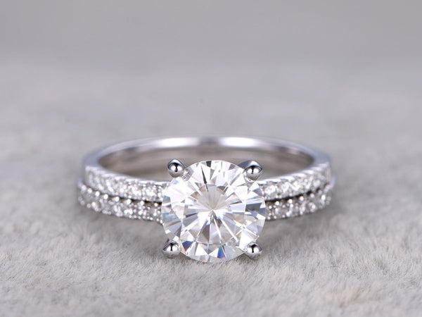 2 Moissanite Bridal Set,Forever Brilliant Moissanite Engagement Ring,Curve moissanite wedding band,14k,White gold,Promise Ring,7.5mm,1.5ctw