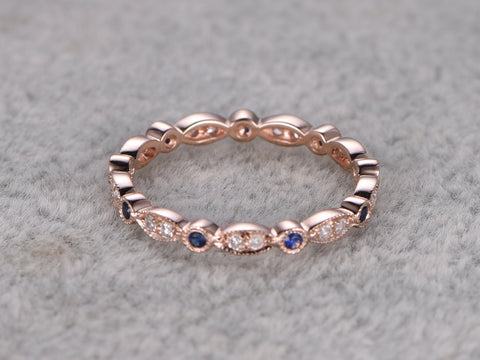 Natural Sapphire and Diamond,Full Eternity Wedding Ring,Solid 14K Rose gold,Anniversary Ring,Art deco,stacking,milgrain,Retro vintage Unique
