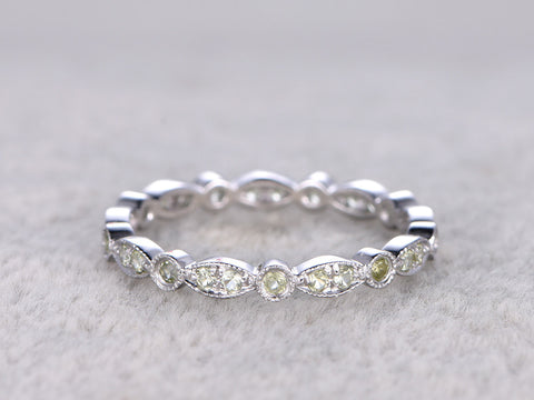 Peridot Full Eternity Wedding Ring,14K White gold,Anniversary Ring,Art deco style,stackable ring,milgrain,Royal Retro vintage,Matching Band