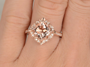 7mm Cushion Morganite Engagement ring Rose gold,Diamond wedding band,Promise Ring,Bridal Ring,Retro Vintage Floral,Custom made
