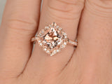7mm Cushion Morganite Engagement ring Rose gold,Diamond wedding band,Promise Ring,Bridal Ring,Retro Vintage Floral,Custom made setting
