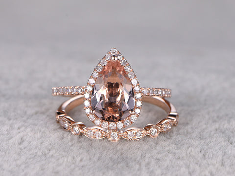 2pcs Morganite Bridal Ring Set,Engagement ring Rose gold,Diamond wedding band,14k,7x10mm Pear Cut,Promise Ring,Retro Vintage Floral,Art Deco