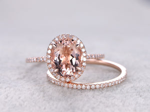2pc ring set,8x10mm Morganite Engagement ring Rose gold,Diamond wedding band,14k,Gemstone Promise Bridal Ring,Claw Prongs,Halo,Half Eternity