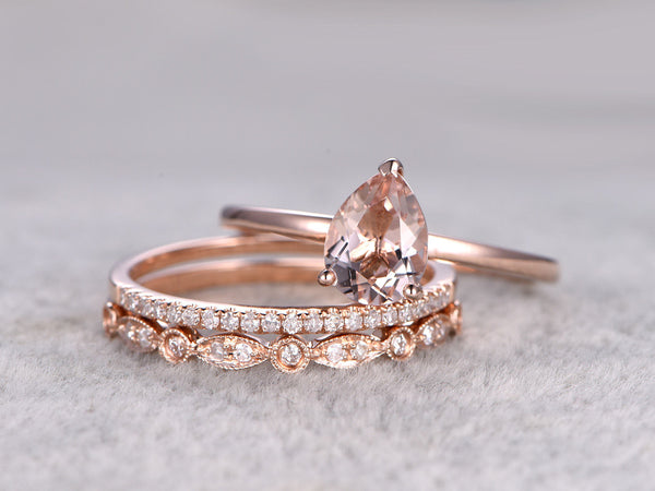 3pcs Morganite Bridal Ring Set,Engagement ring Plain Rose gold,Diamond wedding band,14k,6x8mm Pear Cut,Gemstone Promise Ring,Art Deco Band