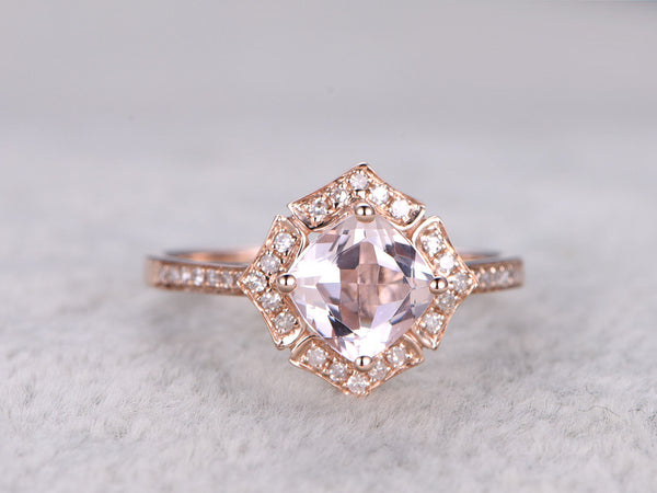 7mm Cushion Morganite Engagement ring Rose gold,Diamond wedding band,Promise Ring,Bridal Ring,Retro Vintage Floral,Halo,14K,Propose ring