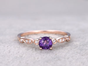 Natural Amethyst Engagement ring,Diamond wedding ring,Art Deco,14K Rose Gold,5mm Round Cut Purple stone Promise Ring,Bridal Ring,Milgrain