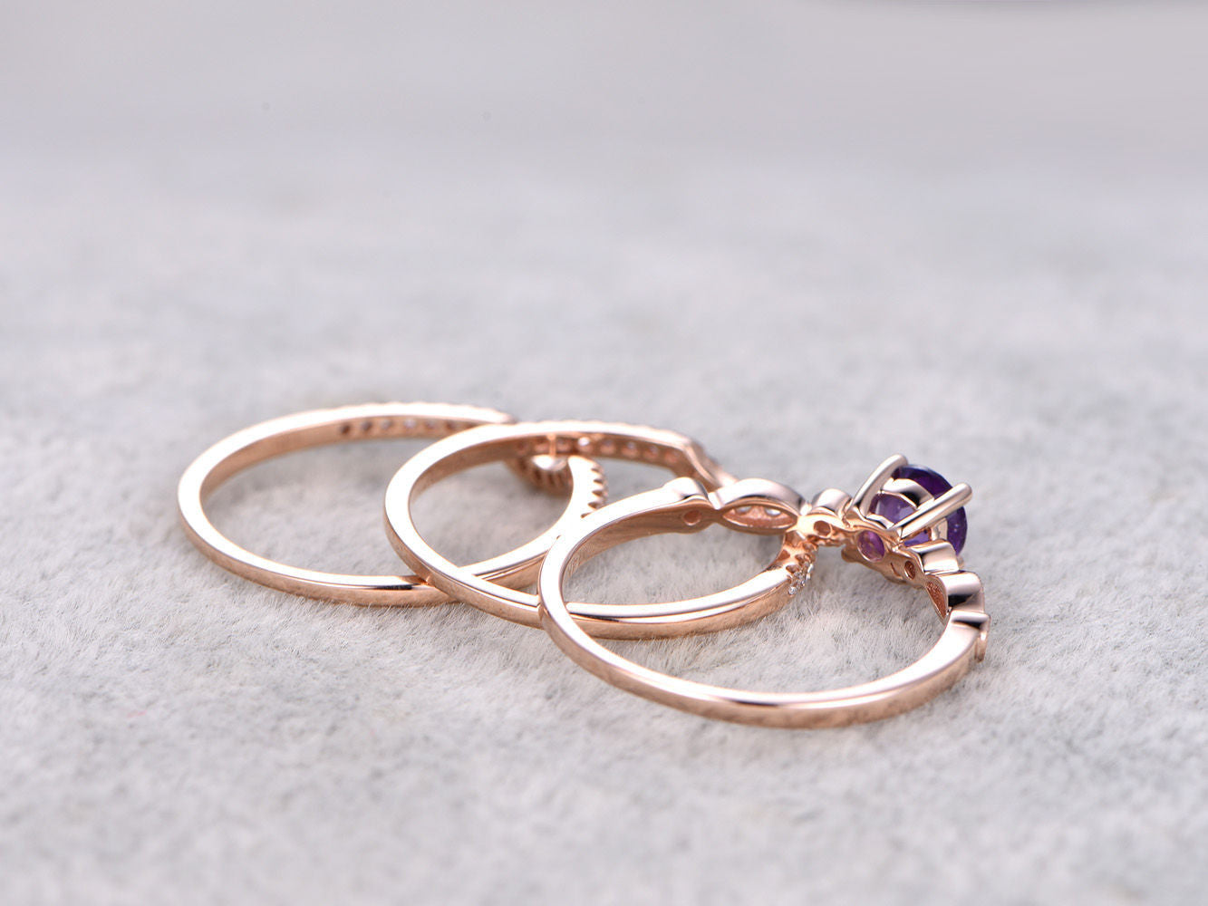 3pcs Purple Amethyst Engagement ring set,Diamond wedding band,Art Deco,14K Rose Gold,Promise Ring,Bridal Ring,Curved Matching band,Milgrain