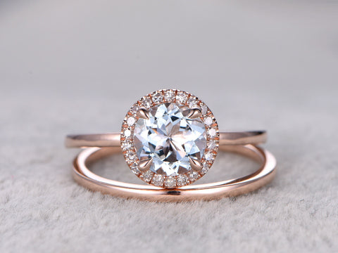 2pcs Round Blue Aquamarine Wedding ring set.Engagement ring rose gold,7mm Round,Plain gold band,14K,Gemstone Promise Bridal Ring,Stacking