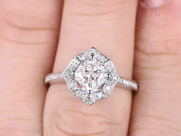 brilliant Moissanite Engagement ring White gold,7mm Cushion cut,14K,Diamond wedding band,Promise Bridal Ring,Retro Halo floral,Anniversary