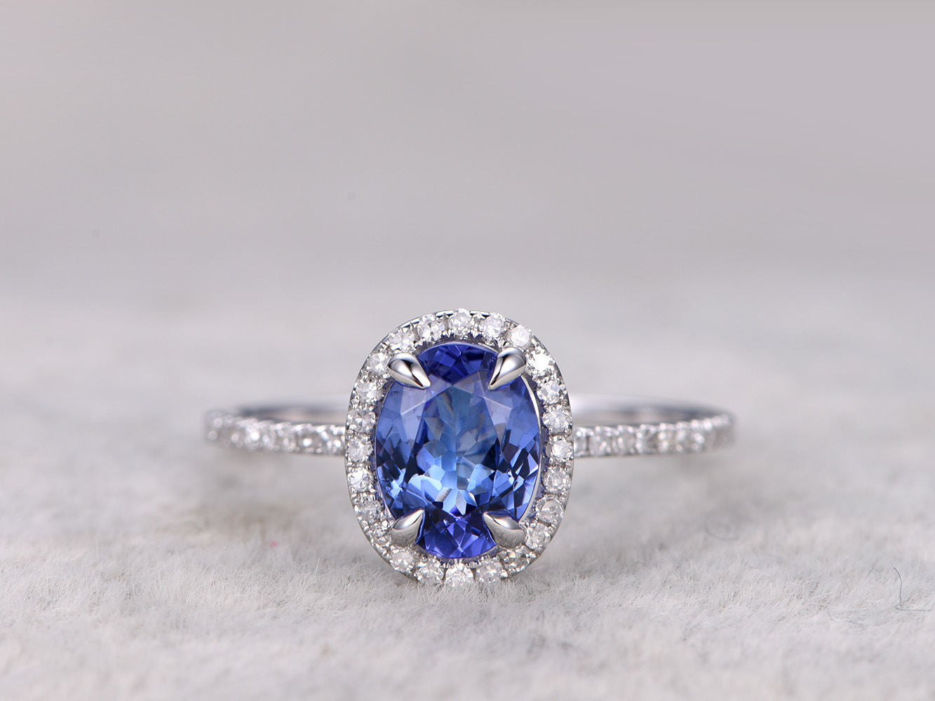 6x8mm Oval Cut Tanzanite Engagement ring,Diamond Promise Ring,14K,White Gold,Bridal Ring,wedding band,Blue Gem Stone ring,Claw Prong set