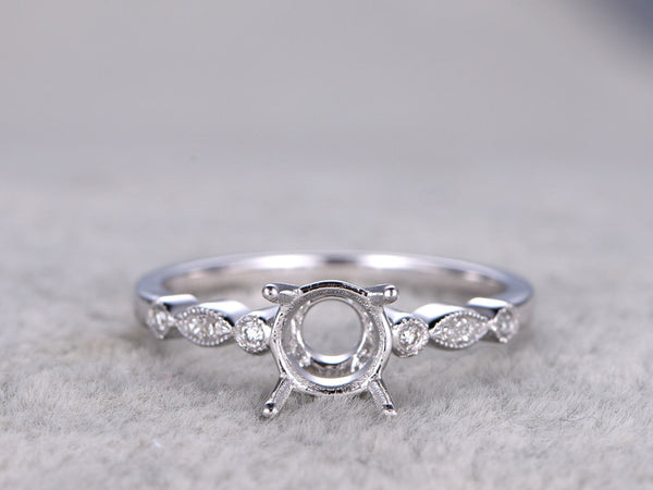5mm stone semi mount ring,White gold ring setting,14k,Art Deco diamond wedding band,Round stone,Solitaire ring setting,Ball Prongs,Milgrain