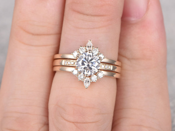 3 Moissanite Bridal Set,Forever Brilliant Moissanite engagement ring,Diamond Crown Ring,Curved Wedding Band,14k,6.5mm Round Cut,Yellow Gold