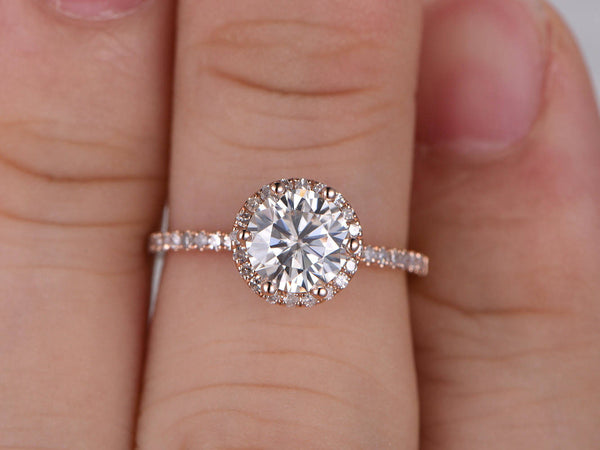 1ct brilliant Moissanite Engagement ring,6-prong set,Rose gold,Diamond wedding band,14k,6.5mm Round Cut,Halo