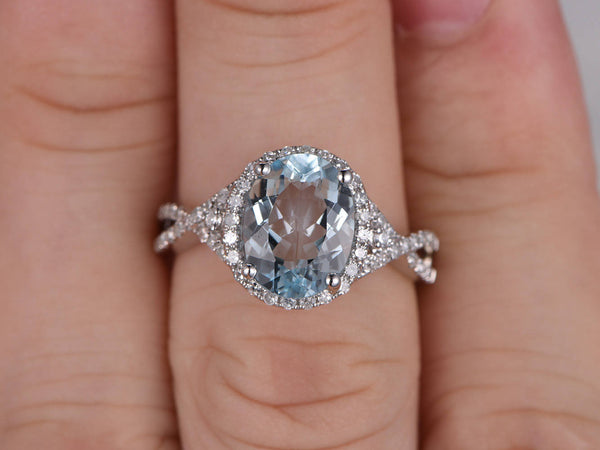 8x10mm Oval Natural Aquamarine Ring,Diamond Engagement ring,14 White gold,Bridal,Halo,Criss Cross band,Infinity,Blue Gemstone Promise Ring