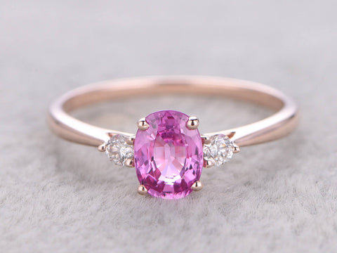 Pink Sapphire Engagement ring,Rose Gold,Diamond wedding band,14K,1.15ctw Oval cut Natural Gemstone,Women's ring for girl