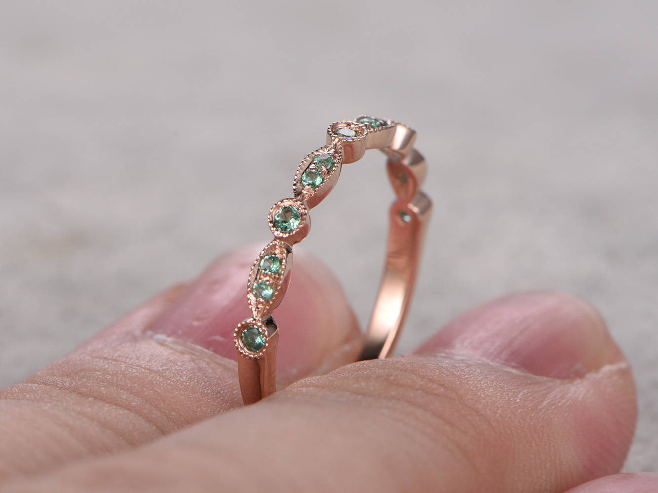 Natural Emerald,Half Eternity Wedding Ring,14K Rose gold,Anniversary Ring,Art deco Marquise style,stacking,milgrain,Emerald wedding band