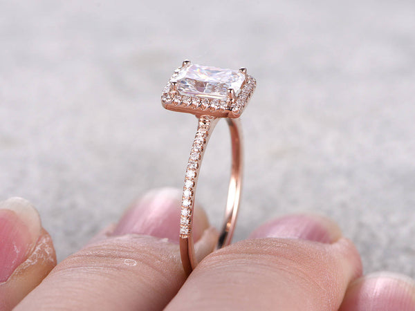 Moissanite Engagement ring Roes gold,Diamond band,5x7mm Radiant Cut 1.2ct Gemstone Promise Ring