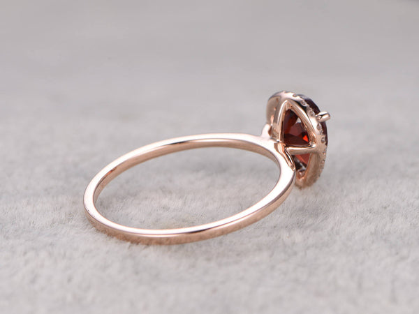 6x8mm Pear Cut Red Garnet Engagement ring Rose gold,Plain gold band,14k,Gemstone Promise Bridal Ring,Halo,Prongs,January Birthstone Ring