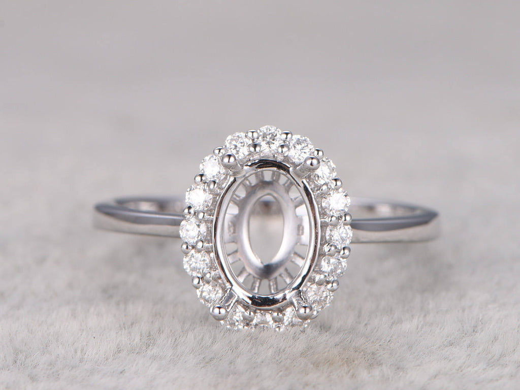 8x6mm oval stone semi mount ring,White gold ring setting,14k,Diamond halo,Plain gold band,Solitaire ring setting,Ball Prongs,Floral design