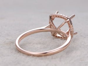 8x8mm Cushion Cut Semi Mount ring,Rose gold ring setting,14k,Diamond halo,Plain gold band,Solitaire ring setting,Claw Prongs