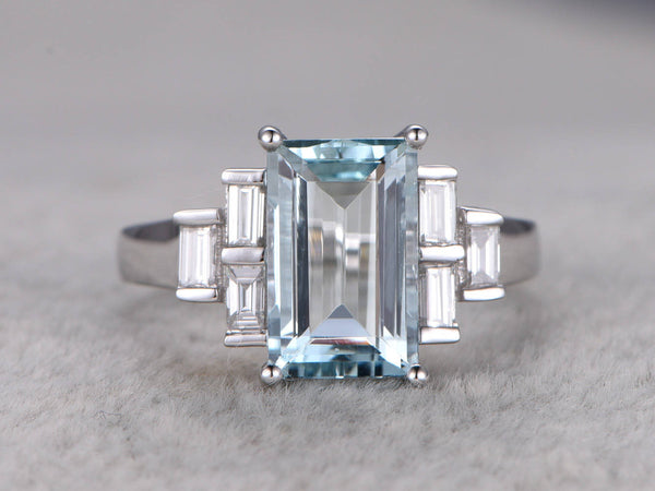 11x6mm Emerald Cut Aquamarine Engagement ring,Baguette Cut Diamond Accent,14K White Gold,Unique style