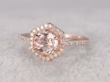 7mm Morganite Engagement ring Rose gold,Diamond wedding band,14k,Round Cut,Hexagon Halo,Gemstone Promise Bridal Ring,6-Claws,Handmade