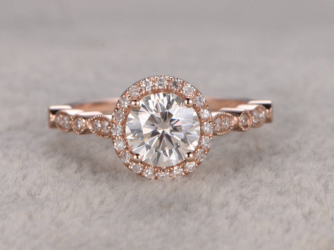 1ct Moissanite Engagement ring,Rose gold,Diamond wedding band,Art Deco style,14k,6.5mm Round Cut,Halo,Milgrain