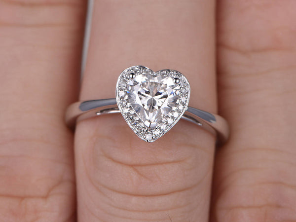 1ct brilliant Moissanite Engagement ring White gold,Plain gold band,14k,6.5mm heart shaped,Gemstone Promise Bridal Ring,Halo,Anniversary