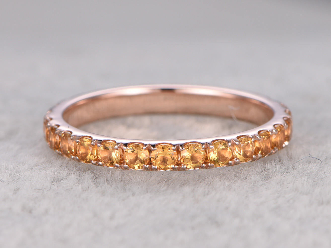 Full eternity Citrine Wedding Band,Solid 14K Rose gold,Anniversary Ring,Engagement stacking ring,Prong Set,2mm Yellow gem stone,can engrave