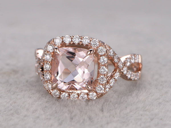 Morganite Engagement ring Rose gold,Diamond wedding band,Split Shank,14k,8x8mm Cushion Cut,Bridal Ring,Criss Cross Ring,Halo,Infinity