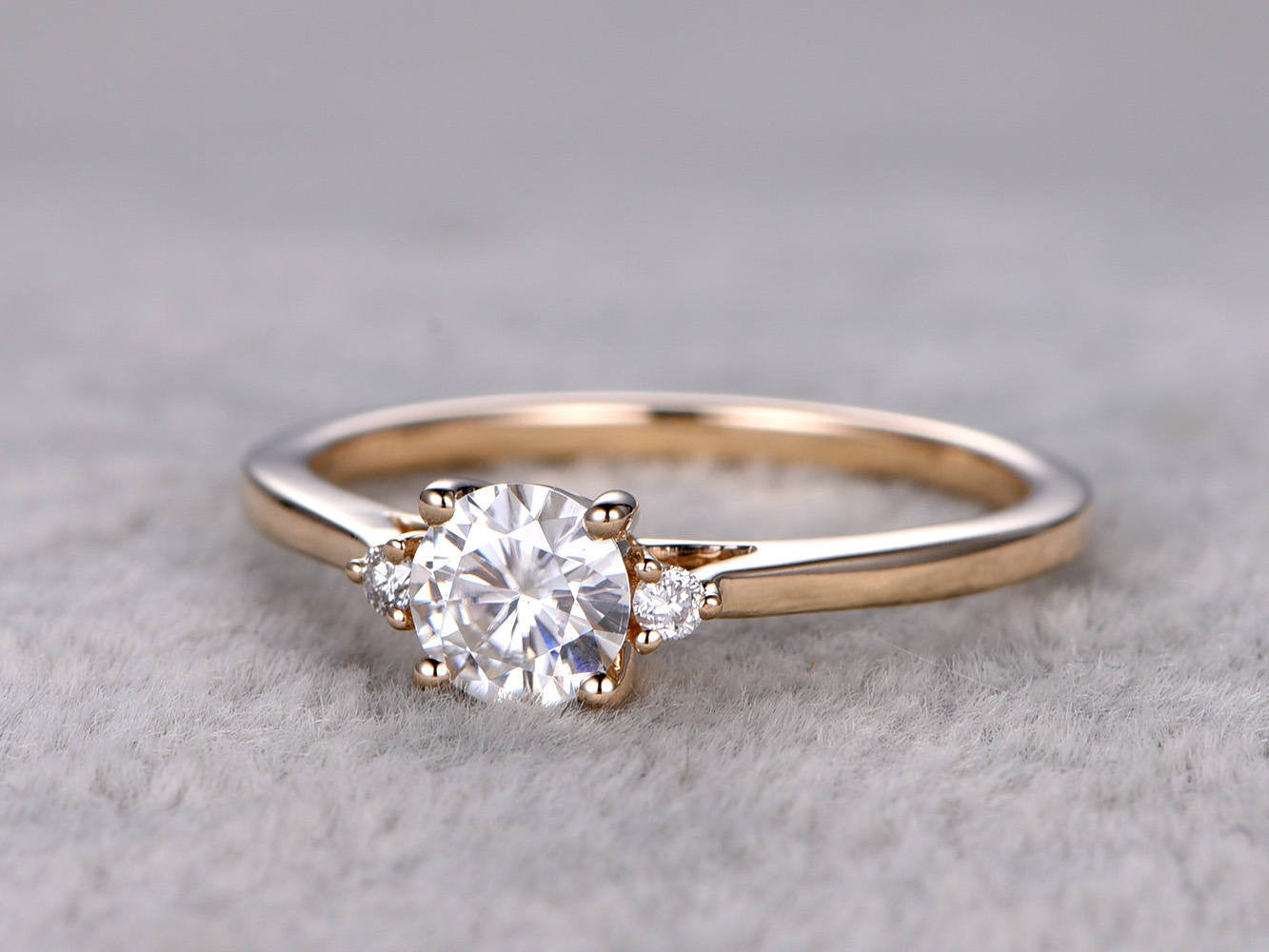 brilliant Moissanite Engagement ring Yellow gold,14k,5mm Round Cut,3 stones,diamond accent,Gemstone Promise Bridal Ring,Anniversary Ring