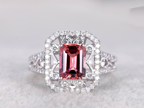 Natural Tourmaline Engagement ring,Diamond wedding band,Filgree,Milgrain,14K White Gold,6x8mm Emerald Cut Pink stone,Retro Floral Design