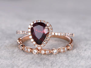 2pcs Natural Garnet Bridal Ring Set,6x8mm Pear Cut Garnet Engagement ring,14k Rose gold,Diamond wedding band,Art Deco matching band,Red Gems