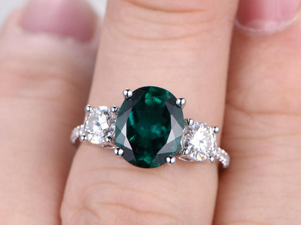 BIG Emerald Engagement ring White gold,3 Stone Ring,5mm Round Moissanite Side stones,14k,8x10mm Oval Cut,Green Lab-Created Gemstone,14K