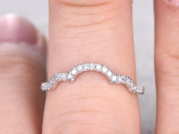 Curve Diamond Wedding Band,Solid 14K White gold,Half Eternity,Anniversary Ring,Stacking ring,Natural Gemstone,matching band,micro pave set