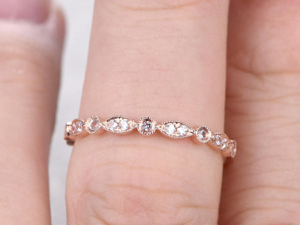 Natural White Sapphire Full Eternity Wedding Ring,14K Rose gold,Anniversary Ring,Art deco style,stackable ring,milgrain,Royal Retro vintage