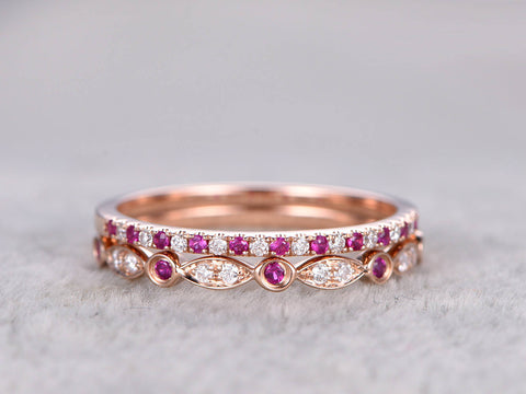 2pcs Half Eternity Wedding Band,Ruby Diamond wedding ring,Blue Sapphire diamond band,14K Rose gold,Anniversary Ring,Art deco,Stacking Ring