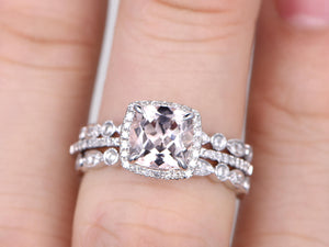 3pc 7mm Morganite Engagement ring set,White gold,Diamond wedding band,Full eternity,14k,Cushion Cut,Promise Bridal Ring,art deco antique