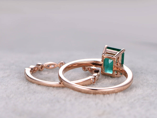 2pc Emerald Ring Bridal Set,Natural Emerald Engagement ring Rose gold,Solitaire,14k,Plain gold band,6x8mm,Promise Ring,Unique wedding band