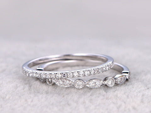 2pcs Half Eternity Wedding Ring,Diamond Wedding band,Solid 14K White gold,Anniversary Ring,Art deco design,stacking,milgrain,Matching band