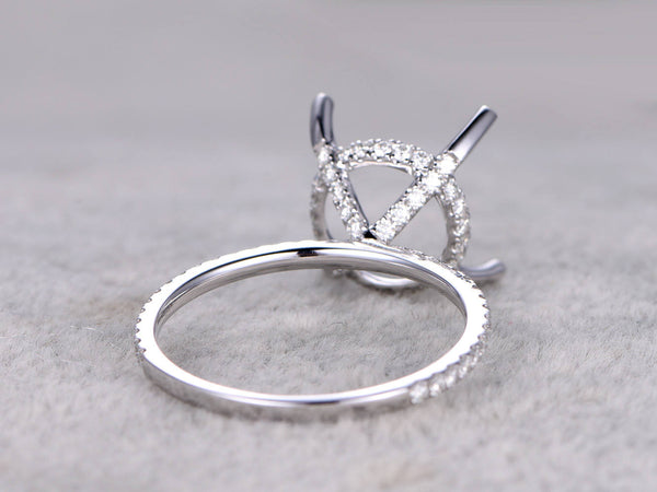 Semi mount ring,to hold 10mm stone,White gold ring setting,14k,Moissanite wedding band,moissanite around Round stone,Solitaire ring,Prong set