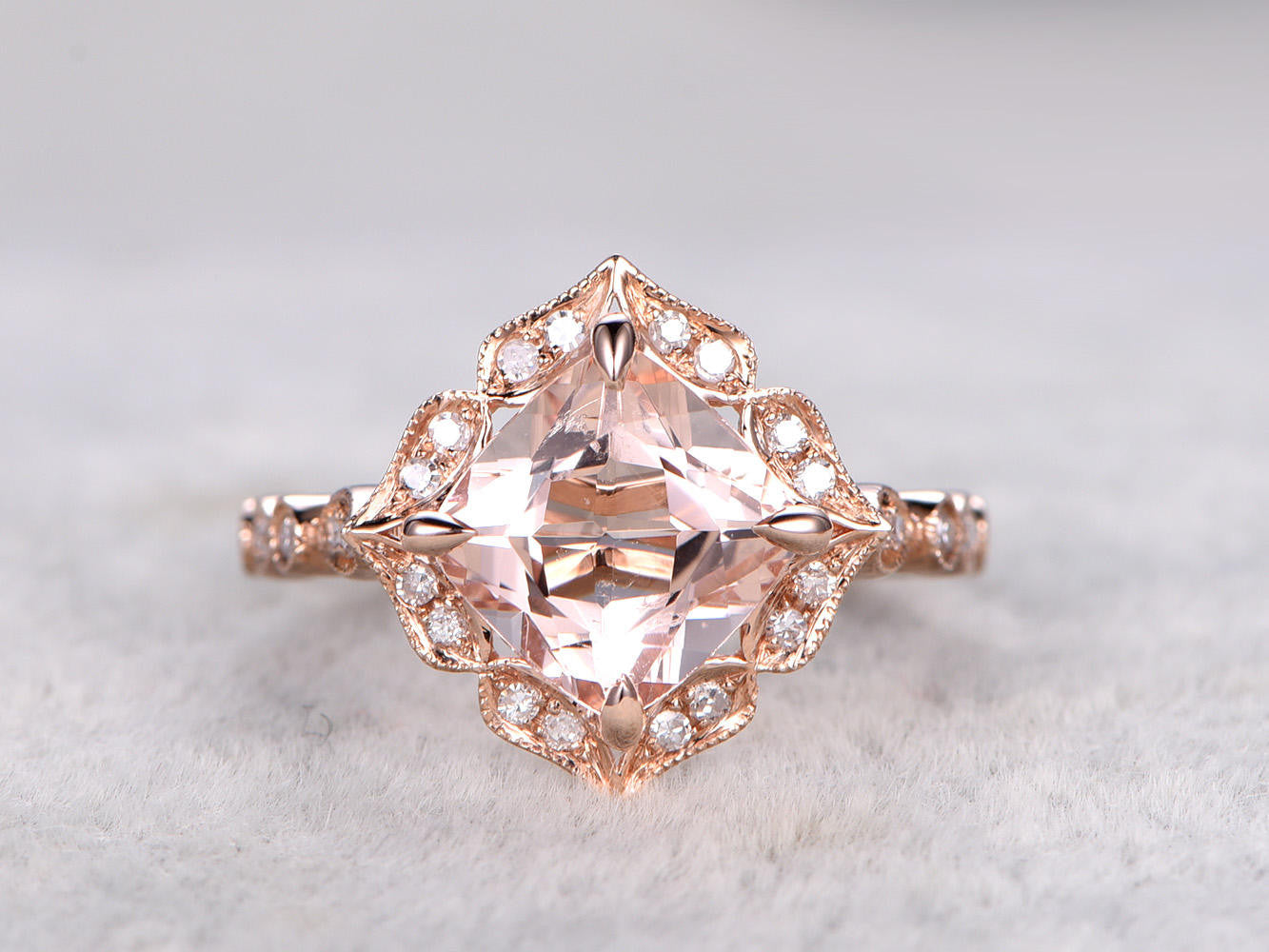 8mm Morganite Bridal Ring,Art Deco Engagement ring 14k Rose gold,Diamond wedding band,Cushion Cut,Promise Ring,milgrain,Retro Vintage Floral
