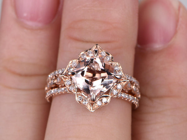 3pc Morganite Bridal set,Art Deco Engagement ring,8mm Cushion Cut,Diamond wedding band,Full eternity,14k Rose Gold,Vintage Floral,milgrain