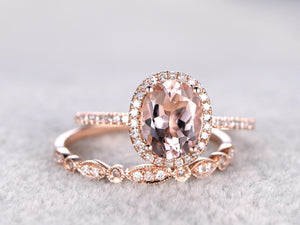 2pcs Bridal Ring Set,Morganite Engagement ring Rose gold,Diamond wedding band,14k,7x9mm Oval Cut,Promise Ring,Art Deco,milgrain,Ball Prongs