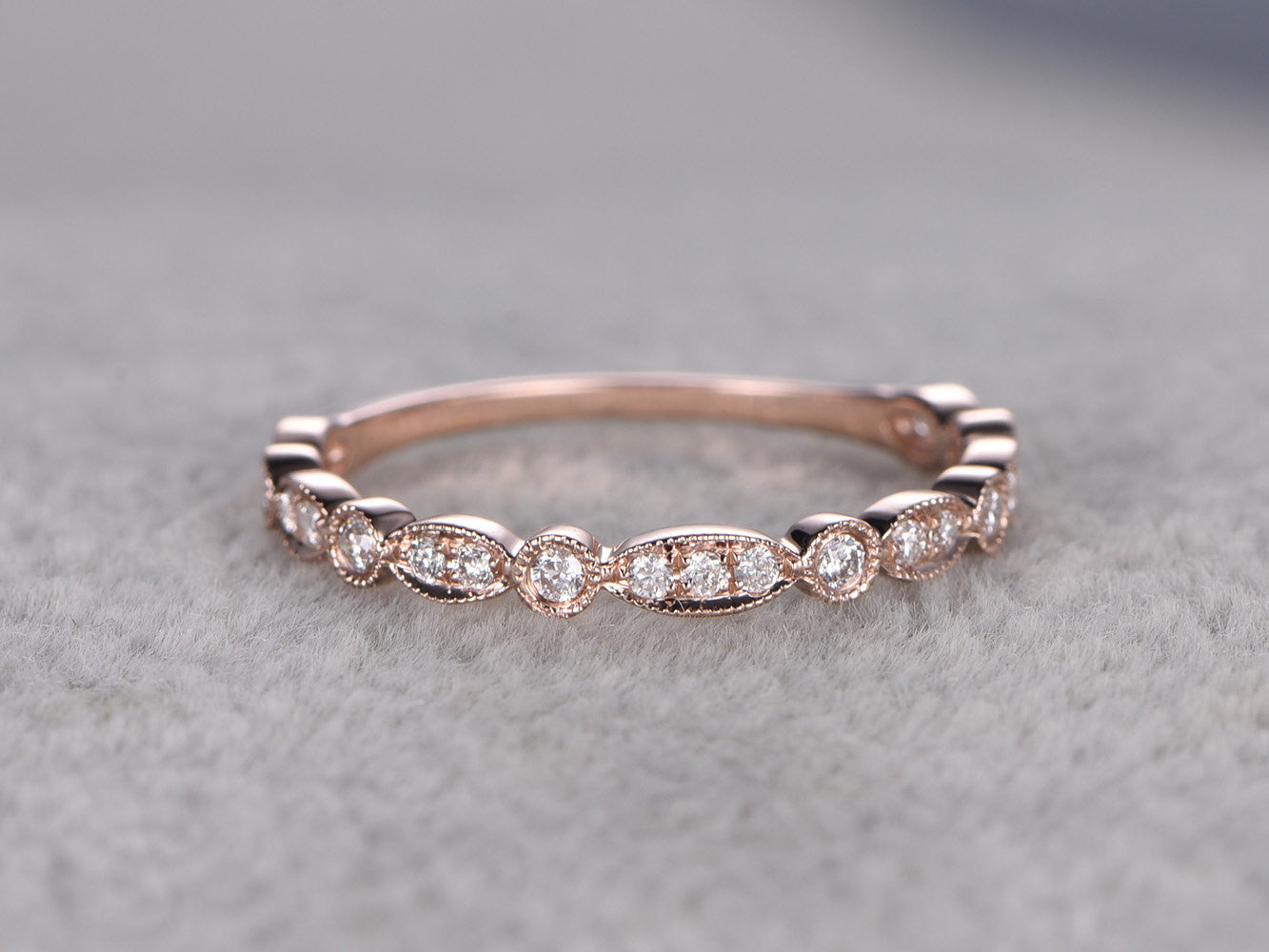 Natural Diamonds,3/4 Eternity Wedding Ring,Solid 14K Rose gold,Anniversary Ring,Art deco Marquise style,stacking,milgrain,Matching band